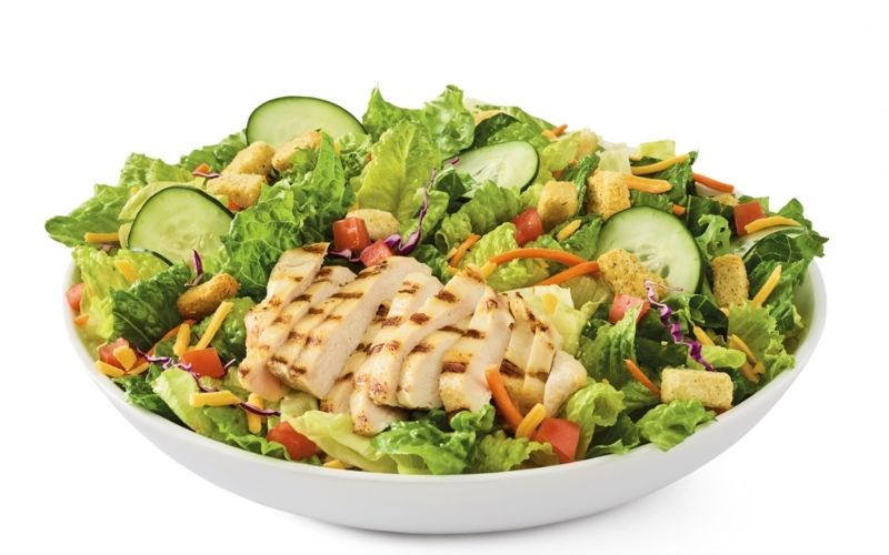 image of simply grilled chicken salad - KetoaHolics.com
