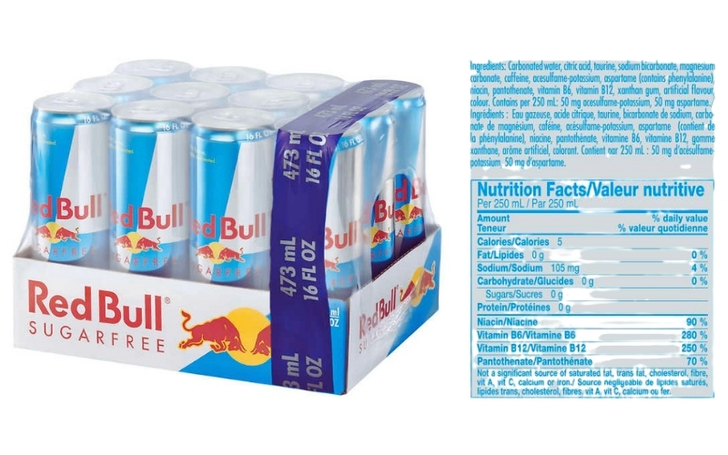 image of Red Bull Sugar-Free Nutritional Information